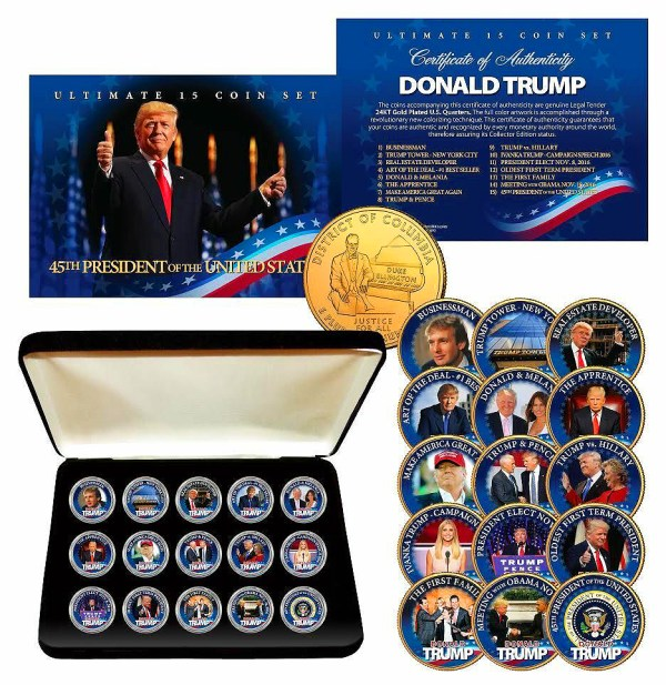 15 COIN 24K GOLD PLATED GENUINE LEGAL TENDER ULTIMATE TRUMP WASHINGTON DC QUARTER SET w/ PREMIUM DISPLAY BOX & CERTIFICATE OF AUTHENTICITY