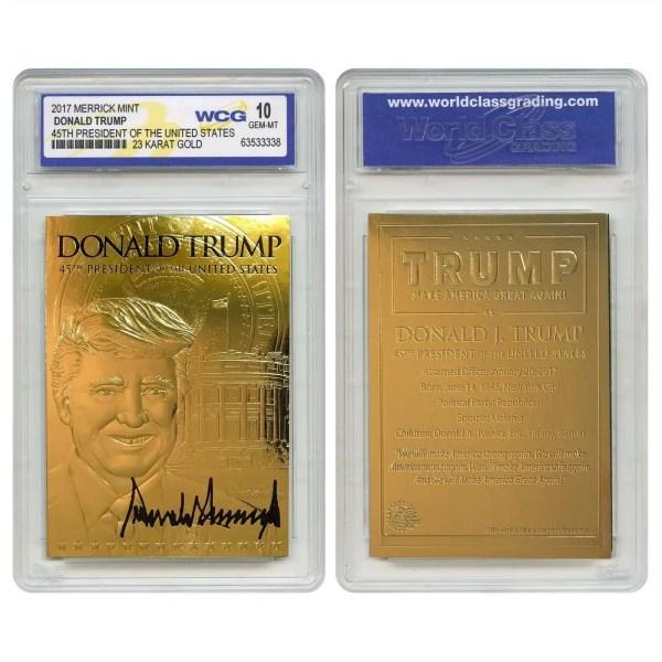 23K GOLD DONALD TRUMP 45th President Sculpted SIGNATURE Card (GRADED: GEM MINT 10)
