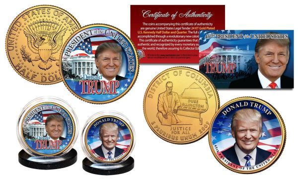 AWESOME 7 PIECE SET! A 24K GOLD PLATED GENUINE LEGAL TENDER TRUMP HALF & QUARTER DOLLAR COLLECTOR'S SET w/ CERTIFICATE OF AUTHENTICITY & 24K GOLD TRUMP BANKNOTE w/ COA SLEEVE