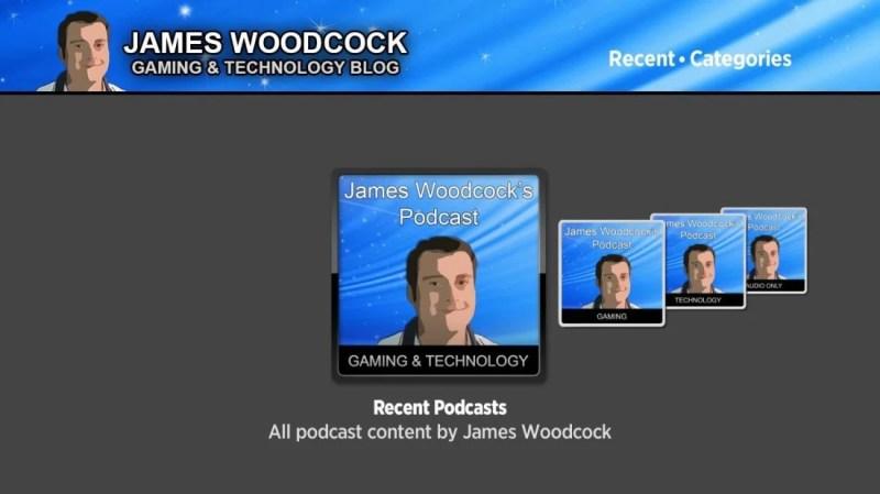 Main menu of 'James Woodcock's Podcast' Roku app