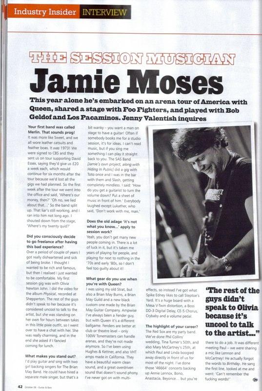 Jamie Moses - Guitar & Bass Magazine Oct 2006