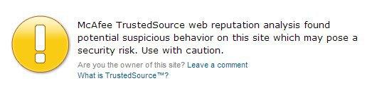 Site Advisor Warning