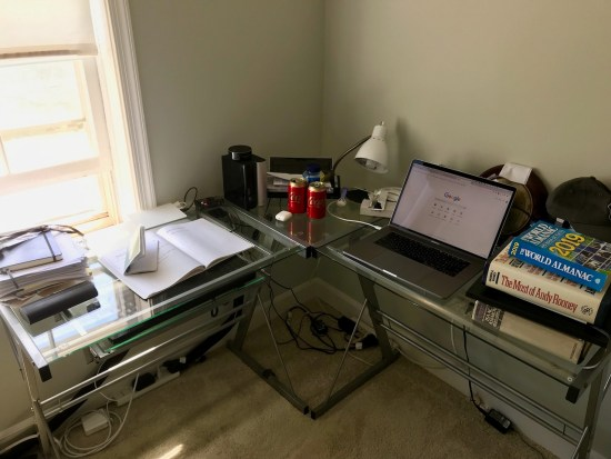 My cluttered desk, today