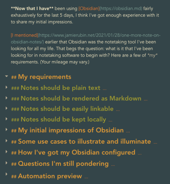 Obsidian note with folded headers