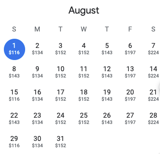Current prices for the Courtyard by Marriott of Manhattan, Fifth Avenue in August.
