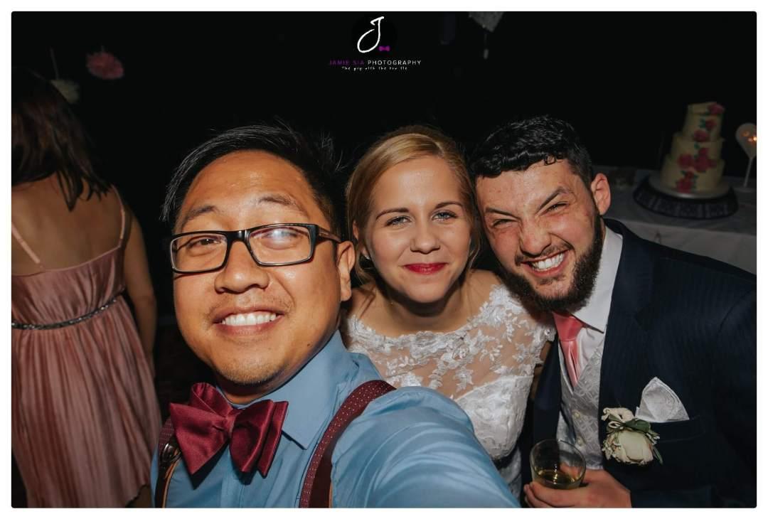 Fun bride and groom selfie Yorkshire wedding Jamie Sia Photography