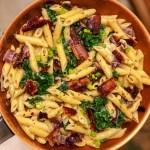bacon kale mushroom pasta