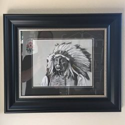 customer photo - original art framed - red cloud charcoal drawing