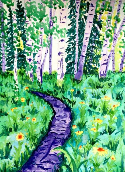 """Crested Butte Flower Trail"" - Watercolor by Colorado Artist Jamie Wilke - Summer Aspens, Flower Field, Single Track"
