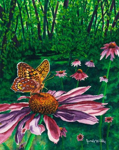 Great Star Spangled Fritillary - watercolor by Colorado Artist Jamie Wilke
