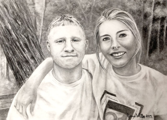 Fine Art Commissioned Portrait Couples Anniversary Gift by Artist Jamie Wilke