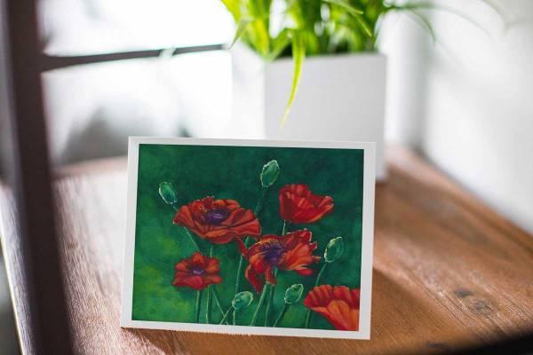 Red Poppies Junes Bloom - Fine Art Notecard by artist Jamie Wilke