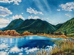 Palmer Lake Reflections 11x14in watercolor by Jamie Wilke - medium version