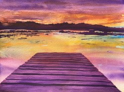At The Lake - watercolor painting of dock at sunset up north in Michigan Wisconsin or Minnesota - by Colorado Artist Jamie Wilke