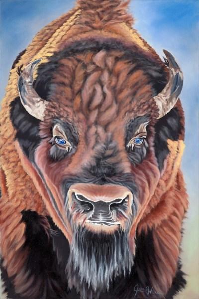 Bison Blue oil painting wildlife portrait by Colorado artist Jamie Wilke