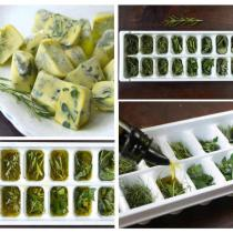 olive oil and fresh herbs in an ice-cube tray