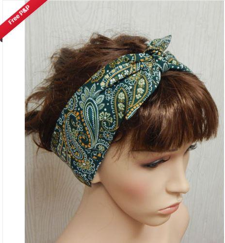 2nd Outfit: Retro headband rockabilly self tie hair scarf 50's hairband bandana head scarf (eBay - kristine19862011)
