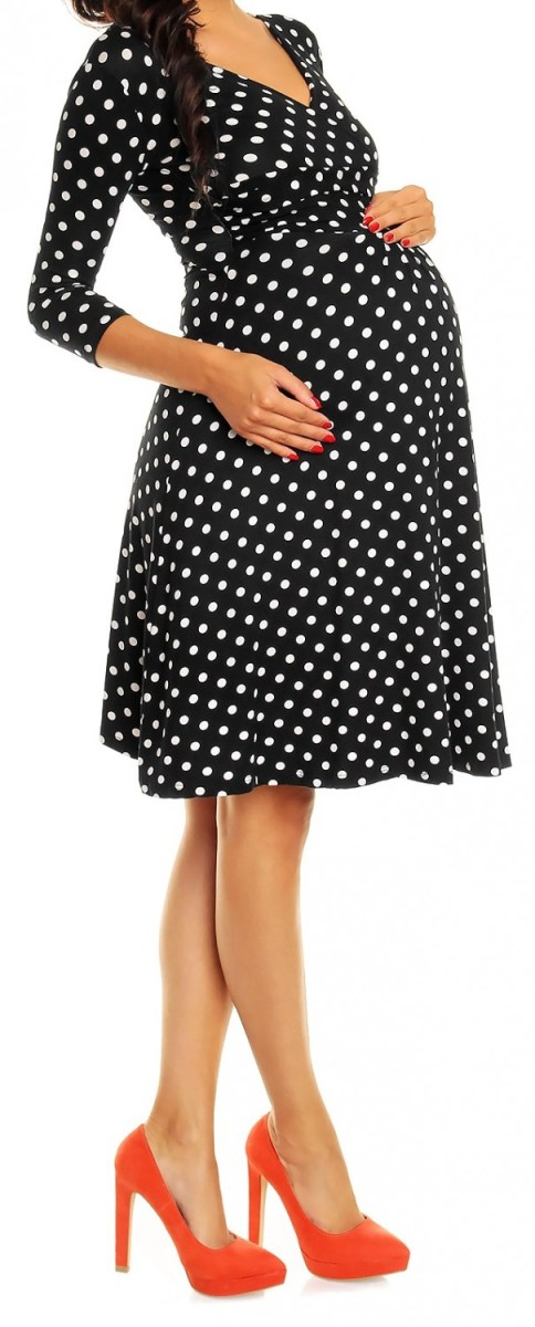 3rd Outfit: Happy Mama Womens Maternity Pregnancy Polka Dot Dress 3/4 Sleeve Spot Dress (eBay)