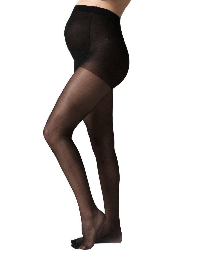 3rd Outfit: 40 Denier Black Over-Bump Maternity Tights (Seraphine)