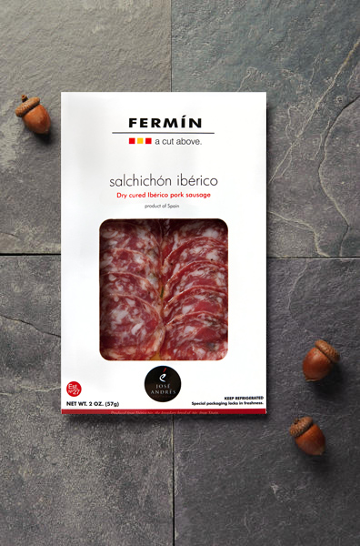 Sliced Iberico Pok Sausage | Salchichon Iberico en lonchas | Cured Meat | Fermin Ibericos | Spanish Food