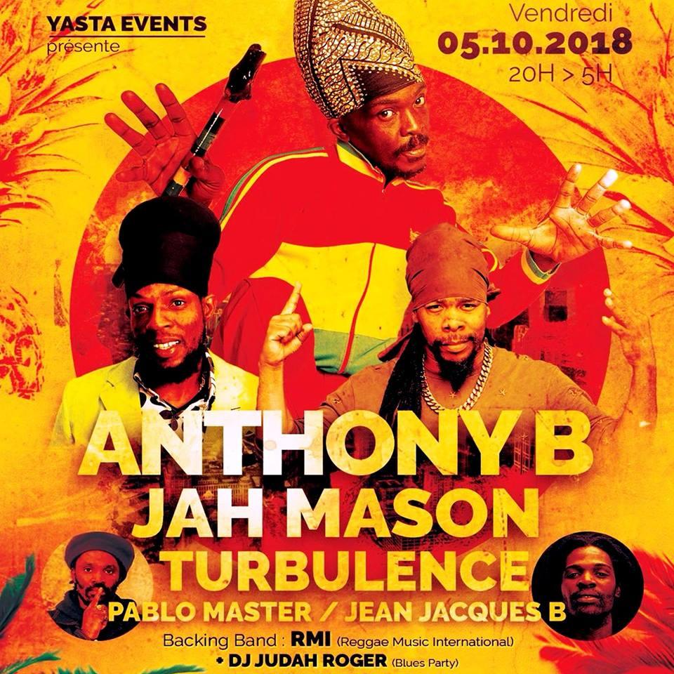 Anthony B, Jah Mason, Turbulence & more @ Cabaret Sauvage [10.05.18]