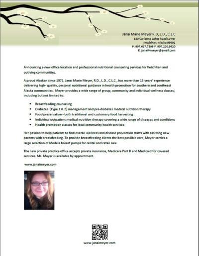 Press Release - Janai Meyer RD, LD, CLC - Sept 2013