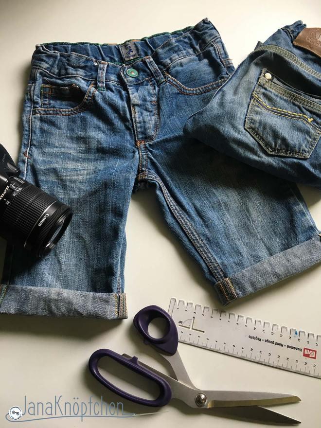 Tutorial Kürzen von Jeanshosen Fertige kurze Jeans mit Umschlag genäht. JanaKnöpfchen - Nähen für Jungs