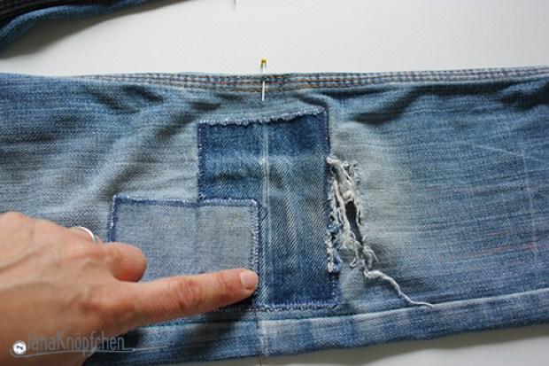 Tutorial aus langer Jeanshose eine kurze Jeans nähen. Linie. JanaKnöpfchen - Nähen für Jungs. Nähblog