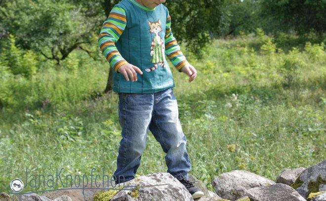 Shirt mit Findus nähen. Ein Shirt für Jungs aus der Eigenproduktion Petterson und Findus von Stoff und Liebe. JanaKnöpfchen - Nähen für Jungs.