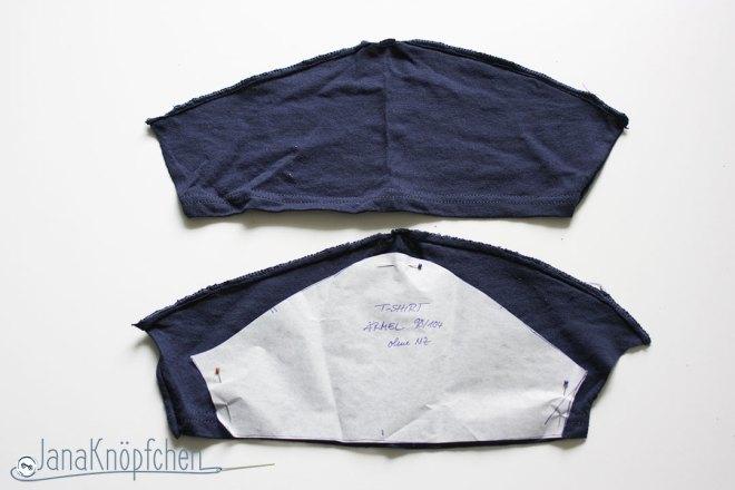 Tutorial upcycling t-shirt aus groß nähe klein. Ärmel zuschneiden. JanaKnöpfchen Nähen für Jungs