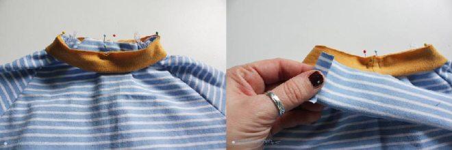 Tutorial Halsausschnitt versäubern - Bündchen angesteckt. JanaKnöpfchen - Nähen für Jungs