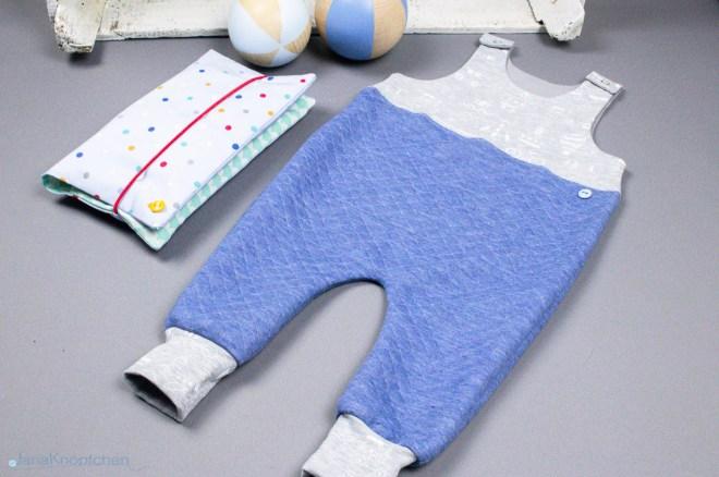 Blogpost Babystrampler nähen mit Wickelutensilo als Geschenk zur Geburt. JanaKnöpfchen - Nähen für Jungs