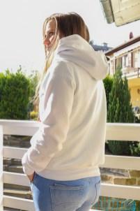 Weißer Hoodie selbstgenäht. JanaKnöpfchen - Nähen für Jungs