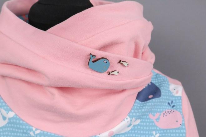 Hoodiekleid mit Walen nähen. Kundenauftrag für individuelle Kleidung. JanaKnöpfchen - Nähen für Jungs