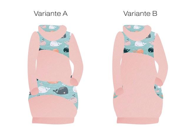Varianten Hoodiekleid mit Walen nähen. JanaKnöpfchen - Nähen für Jungs