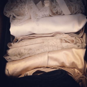 my vintage lingerie, folded and organized into my drawer