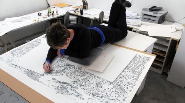 Roxie Munro on top in her studio