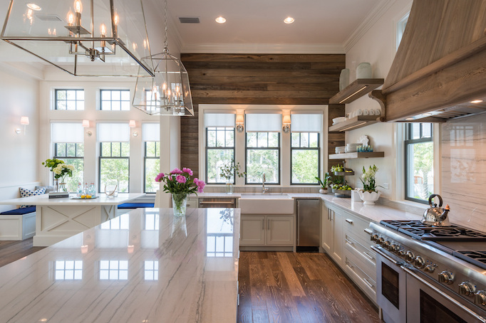 Beautiful Kitchen Inspiration With Reclaimed Wood Wall, White Cabinets And  Open Shelving   Old Seagrove