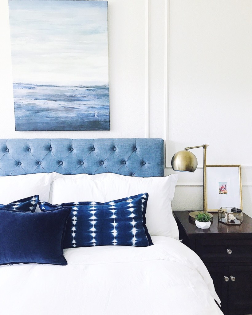 5 Tips to Declutter Your Home and Simplify Your Life-blue and white bedroom
