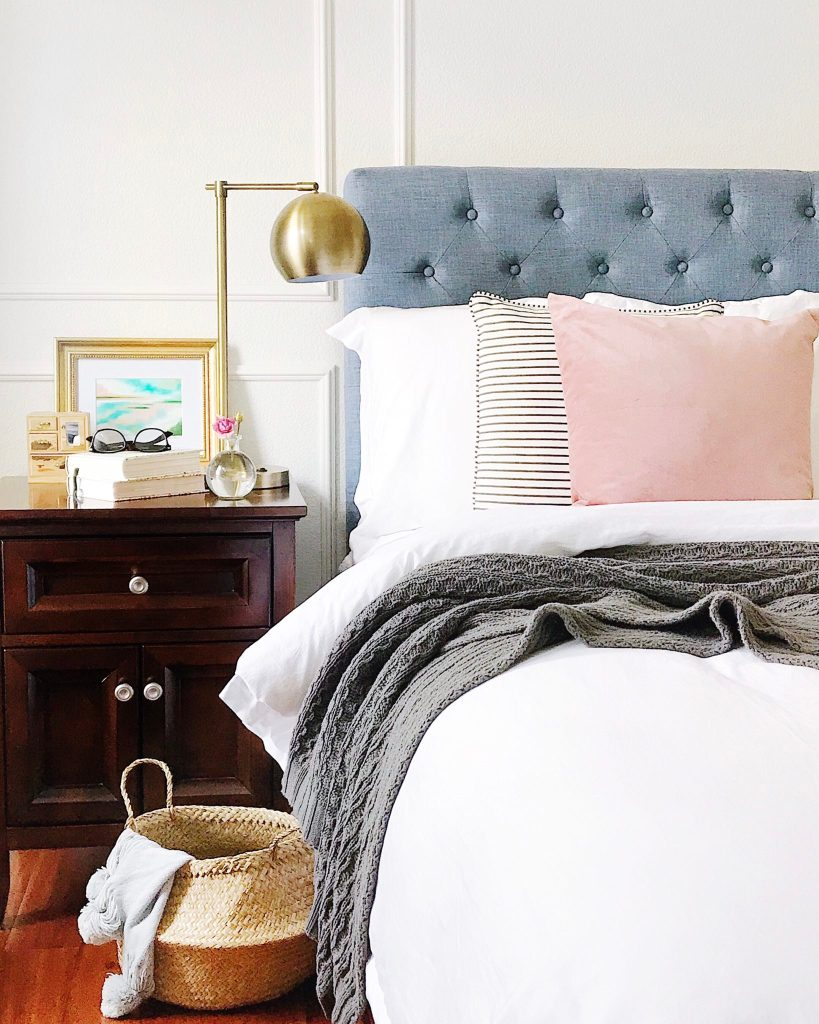 Think Pink - Adding touches of pink in the bedroom with blush and striped pillows