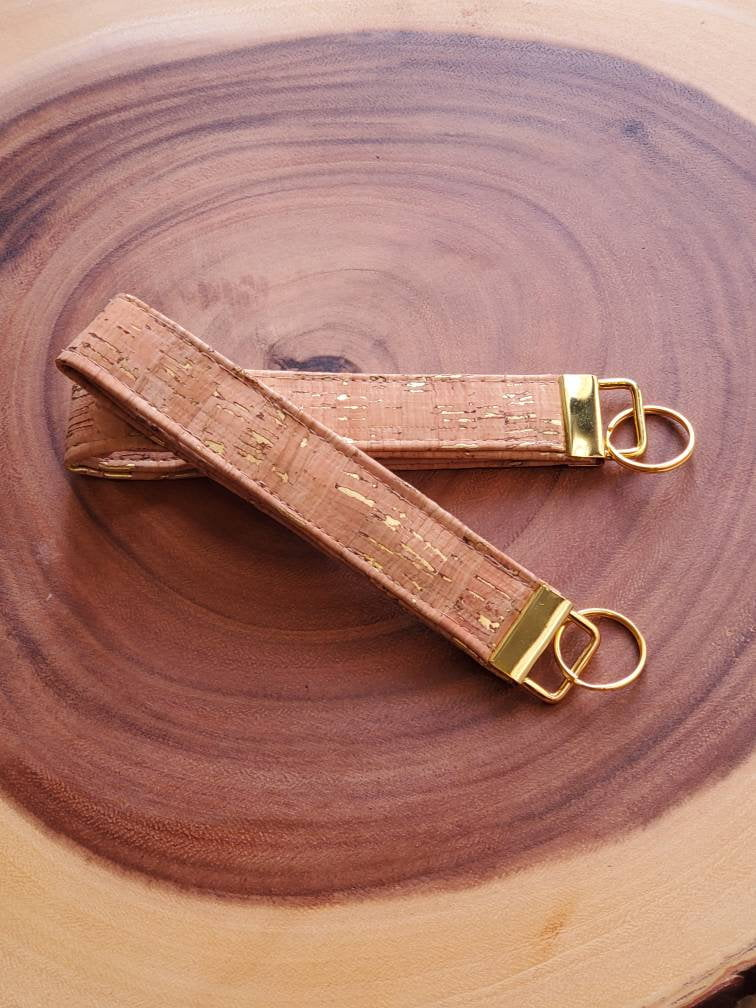 Metallic Gold Cork Key Chain