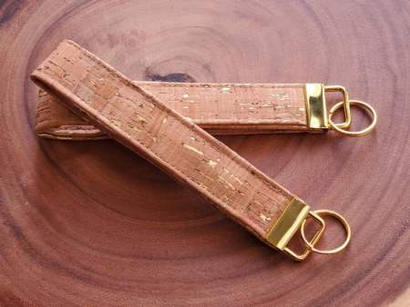 Metallic Gold Cork Key Chain