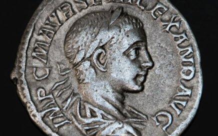 Ancient Roman coin, the head of Geta