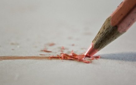 A pink pencil with pink lead has a broken tip. By Hernán Piñera via Flickr.
