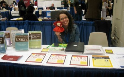 Jane working at the AWP Bookfair in 2009, while still an employee of F+W Media