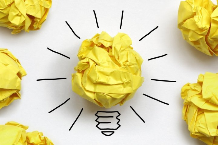 Lightbulb made of crumpled paper, get out of doldrums