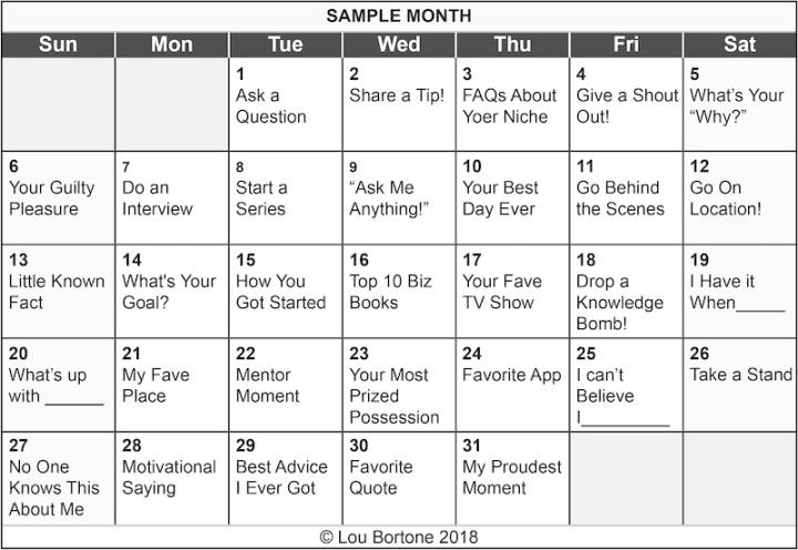 Image: sample calendar of livestreaming ideas
