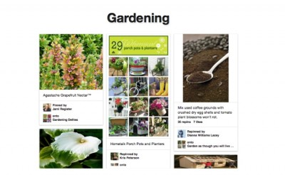 Gardening example page of Pinterest