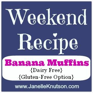 banana muffins, dairy free with a gluten free option, JanelleKnutson.com
