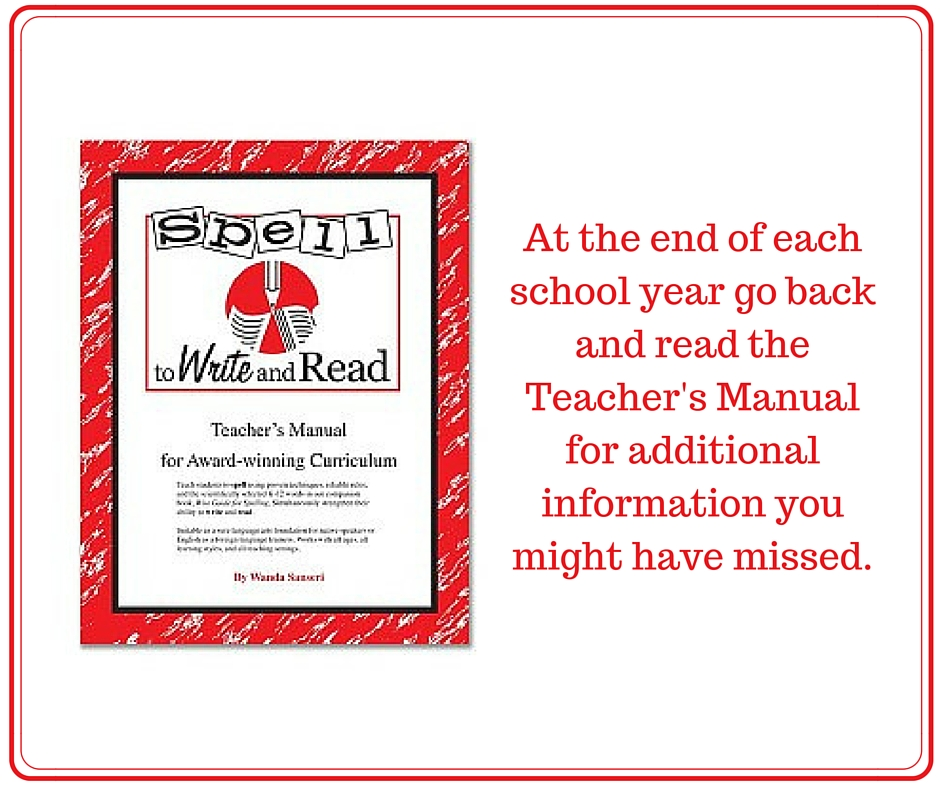 Read the teachers manual more than once